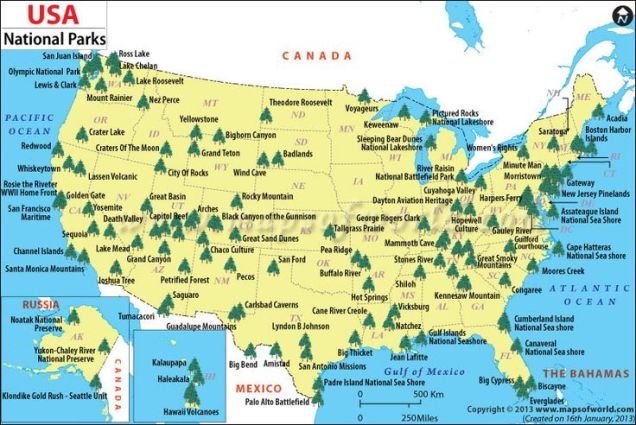 US National Park Service Expedition Education - Map of us and canadian national parks